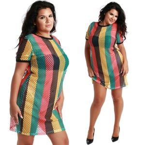 Dresses & Skirts - NEW Colorblocked fishnet tunic 1X 2X 3X
